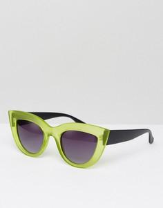 Зеленые солнцезащитные очки кошачий глаз с прозрачной оправой 7X - Зеленый