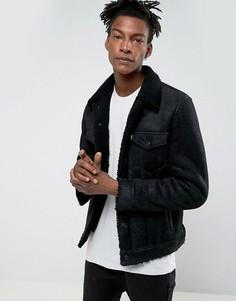 Черная кожаная куртка с меховой подкладкой Levis - Черный Levis®