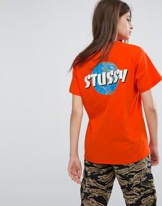 Oversize-футболка с логотипом и принтом на спине Stussy - Оранжевый