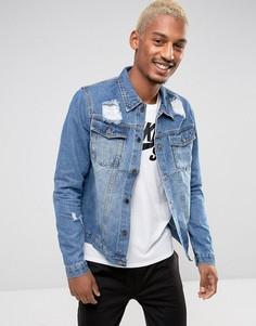Джинсовая куртка с потертостями Criminal Damage - Синий