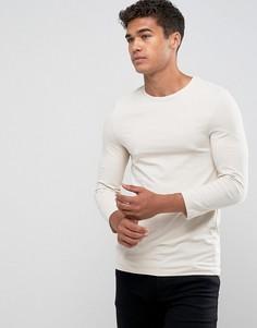 Белая облегающая футболка с рукавами 3/4 - Белый Asos