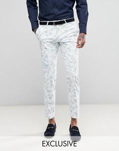 Супероблегающие брюки с бархатистой отделкой Noose & Monkey Wedding - Белый