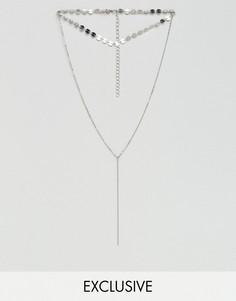 Ожерелье-чокер в несколько рядов с пайетками Reclaimed Vintage Inspired - Серебряный