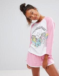Пижамный комплект с лонгсливом и шортами ASOS My Little Pony - Мульти
