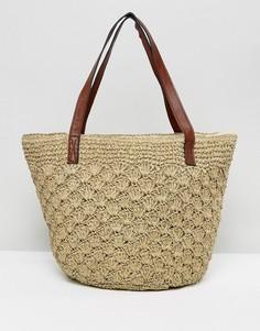 Соломенная сумка на плечо с кожаными ручками Reclaimed Vintage Inspired - Мульти