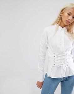 Рубашка со шнуровкой в корсетном стиле Noisy May - Белый