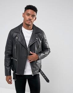 Черная кожаная байкерская куртка с поясом ASOS - Черный