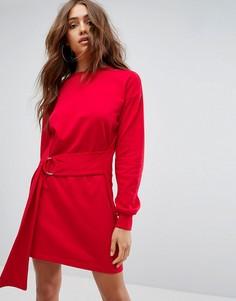 Трикотажное платье с кольцами Boohoo - Красный