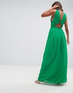 Платье макси с вырезом на спине ASOS - Зеленый