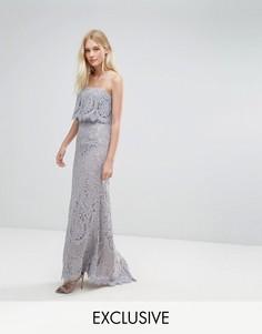 Кружевное платье-бандо макси Jarlo - Серый