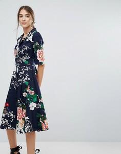 Платье-рубашка на пуговицах с цветочным принтом Uttam Boutique - Темно-синий