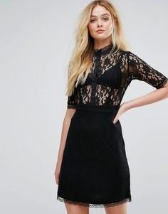 Короткое приталенное платье с кружевным верхом City Goddess - Черный
