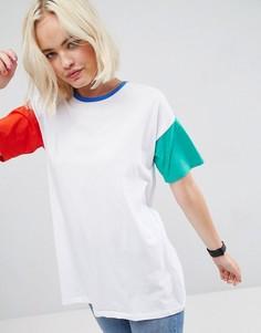 Oversize-футболка в стиле колор блок ASOS - Белый