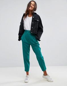 Зеленые брюки с ремнем ASOS Tailored - Зеленый