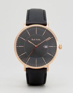 Спортивные часы с черным кожаным ремешком 42 мм Paul Smith P10081 - Черный
