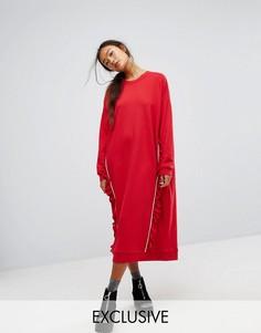 Трикотажное платье с рюшами Monki - Красный
