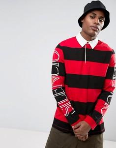 Свободное поло в широкую полоску с длинными рукавами с принтом ASOS - Красный
