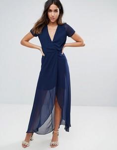 Платье макси с запахом Hope & Ivy - Темно-синий