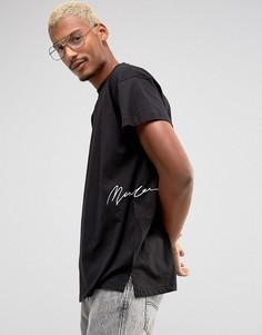 Черная футболка с заниженной линией плеч Mennace - Черный