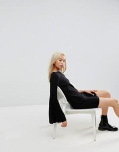 Вязаное платье со складками на рукавах ASOS - Черный