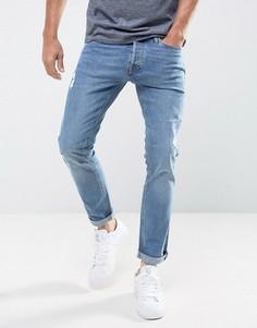 Узкие джинсы с прорехами Jack & Jones - Синий