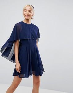 Платье мини из мягкого шифона с асимметричным подолом ASOS - Темно-синий