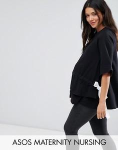 Топ со шнурком ASOS Maternity NURSING - Черный