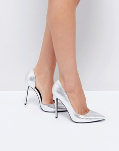 Серебристые туфли на каблуке Public Desire Margi - Серебряный