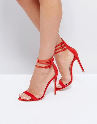 Босоножки на каблуке с ремешком на щиколотке Public Desire - Красный