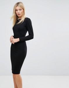 Платье миди со сборками на рукавах Closet - Черный