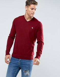 Красный джемпер с V-образным вырезом и логотипом Abercrombie & Fitch - Красный