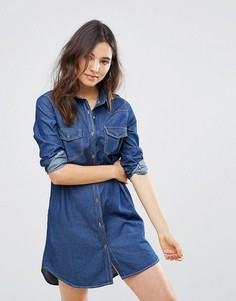 Джинсовое платье-рубашка QED London - Синий