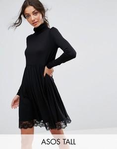 Короткое приталенное платье с воротником поло и кружевным краем ASOS TALL - Черный