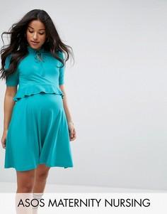 Платье с завязкой и двухслойными оборками ASOS Maternity NURSING - Зеленый