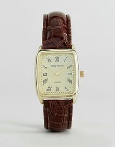 Часы с коричневым ремешком и квадратным циферблатом Philip Mercier - Коричневый