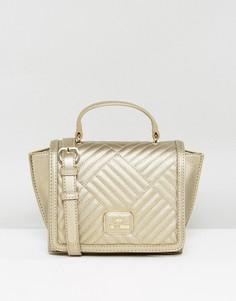 Золотистая стеганая сумка Love Moschino - Золотой