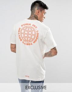 Свободная белая футболка с принтом на спине Puma эксклюзивно для ASOS - Белый