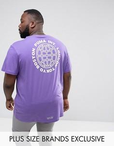 Фиолетовая оверсайз-футболка с принтом на спине Puma PLUS эксклюзивно для ASOS 57659101 - Фиолетовый