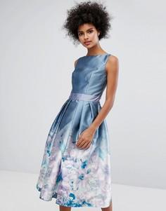 Платье миди 2 в 1 с принтом Chi Chi London - Серый