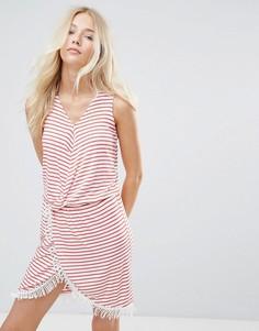 Платье в полоску с запахом Blend She Simone - Красный