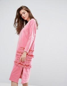 Платье оверсайз с сеткой и рюшами Typical Freaks - Розовый
