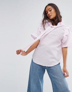 Блузка с высоким воротником и капюшоном в полоску STYLENANDA - Розовый
