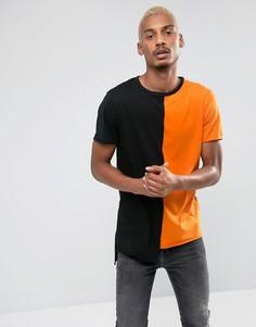 Футболка в стиле колор блок (черный/оранжевый) New Look - Оранжевый