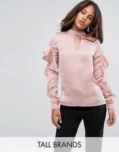 Атласная блузка с оборками Y.A.S Tall - Розовый