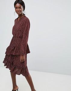 Платье мини с принтом Y.A.S - Коричневый