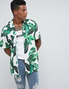 Белая рубашка классического кроя с тропическим лиственным принтом Jaded London - Белый