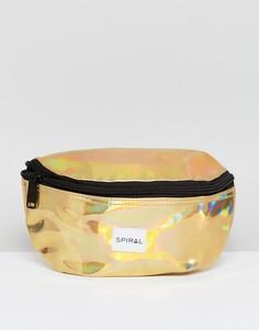 Золотистая сумка-кошелек на пояс Spiral - Золотой