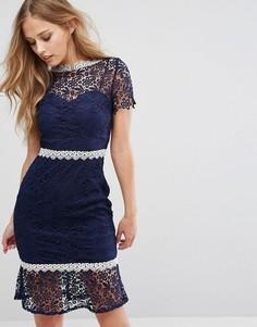 Кружевное платье миди с контрастной отделкой Paper Dolls - Темно-синий