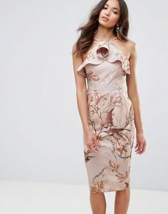 Платье-футляр с оборкой и вырезом на спине Hope & Ivy - Бежевый