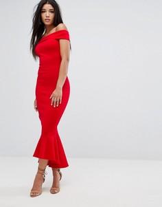 Красное платье макси с открытыми плечами Lipsy - Красный